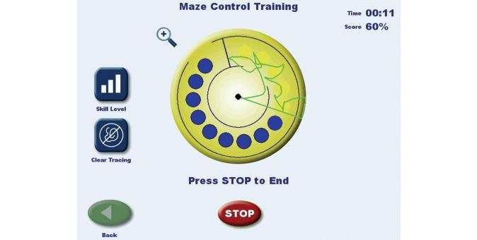 Biodex BioSway Maze control training Screen